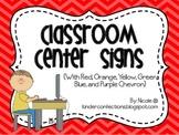 Classroom Center Signs- Rainbow Colors Chevron
