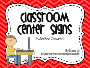 Classroom Center Signs- Red Chevron