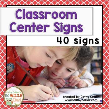 Classroom Center Signs:  Red Quadrafoil