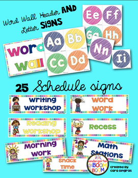 Classroom Center Signs, Word Wall, and Schedule Signs