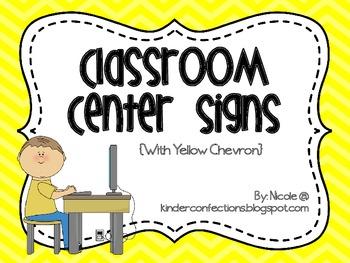 Classroom Center Signs- Yellow Chevron