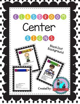 Classroom Center Signs for Pre-K Black Dot