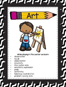 Classroom Center Signs for Pre-K Black and White