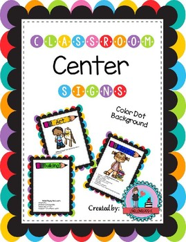 Classroom Center Signs for Pre-K Color Dot