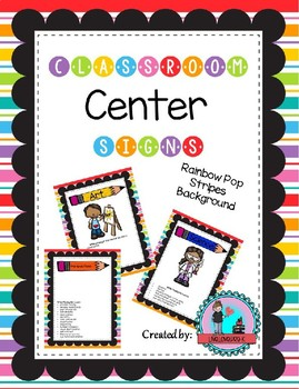 Classroom Center Signs for Pre-k Rainbow Pop