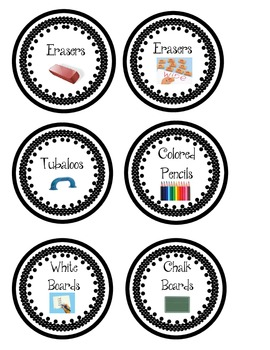 Classroom Center Supply Labels- Black and White