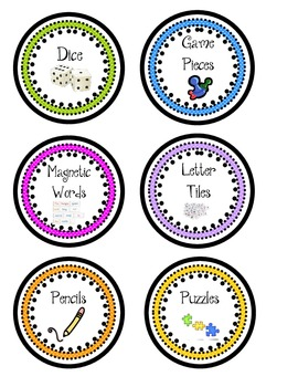 Classroom Center Supply Labels- Colorful
