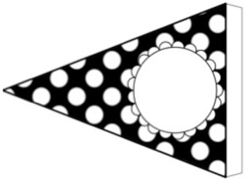 Classroom Center and Table Signs Black Polka Dot