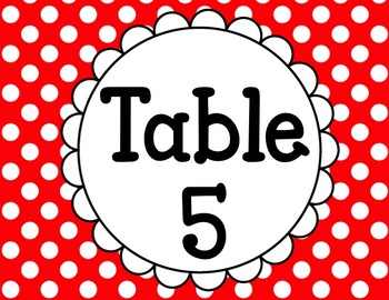 Classroom Center and Table Signs Red Polka Dot