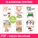 Classroom Centers Instant Download PDF; Preschool, Kindergarten, School (Pink)