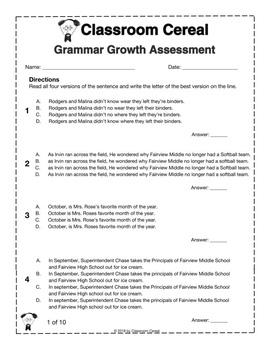 Grammar Diagnostic Assessment & Worksheets   Teachers Pay