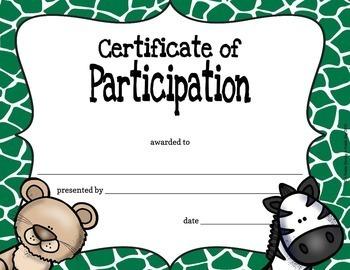 Classroom Certificates - Animal Safari Theme