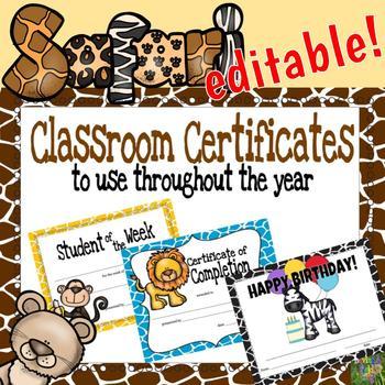 Editable Classroom Certificates - Animal Safari Theme