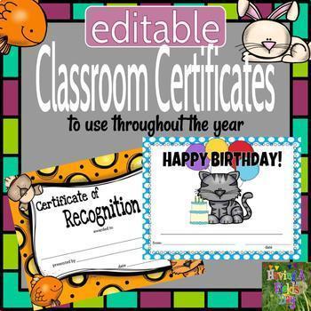 Classroom Certificates - Pets Theme