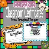 Editable Classroom Certificates - Pets Theme