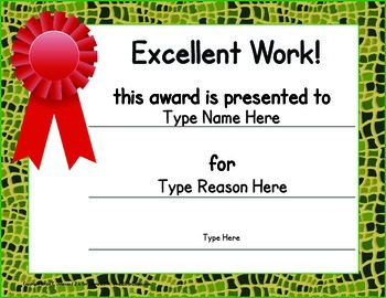 Classroom Certificates - ZisforZebra - Animal Print Editable!