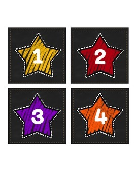 Classroom Chalkboard Numbered Star Labels (Hollywood Theme)