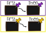 Classroom Chalkboard Theme First-Then Cards