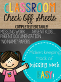 Classroom Check Off Sheet--FREEBIE