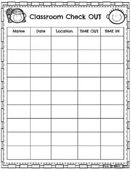 Classroom Check Out Sheet