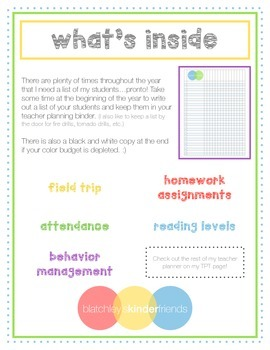 Classroom Checklist Pages