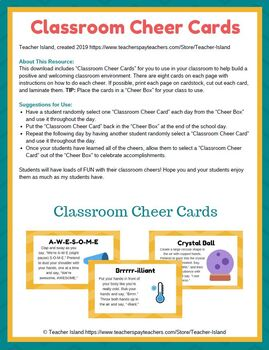 Classroom Cheer Cards