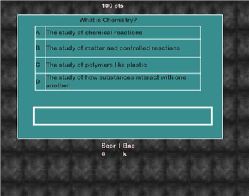 Classroom Chemistry Review Game - Jeopardy Style - Elementary