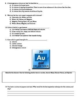 Classroom Chemistry Unit Test with Key