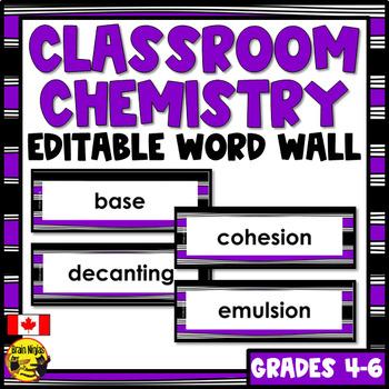 Chemistry Word Wall Words- Editable
