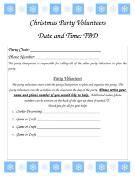 Classroom Christmas Party Parent Sign Up