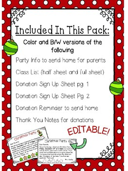 Christmas Party Planning.Classroom Christmas Party Planning Pack Editable