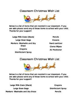 Classroom Christmas Wish List