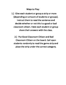 Classroom Citizen Game