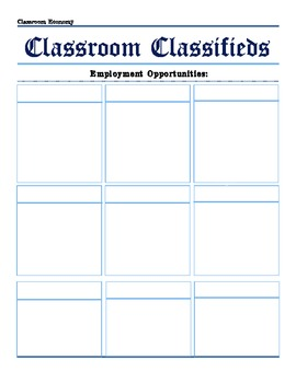 Classroom Classifieds: Customizable Classroom Jobs to fit your Classroom Economy