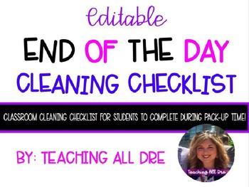EDITABLE Classroom Cleaning Checklist