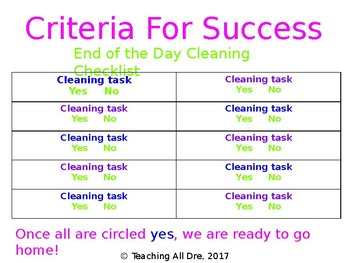 EDITABLE Classroom Cleaning Checklist