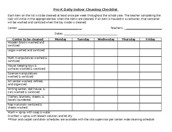 Classroom Cleaning Checklist By Jessica Findley