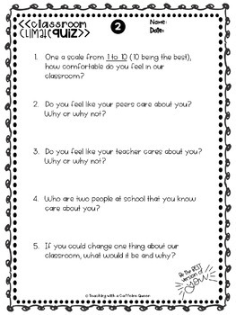 Classroom Climate and Community Quiz with Editable Versions + Digital Quizes