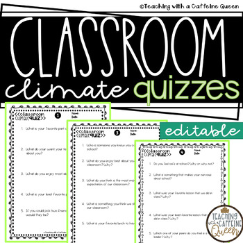Classroom Climate and Community Quiz with Editable Versions + Digital Quizzes