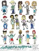 Classroom Clip Art: Hand Drawn Students Greeting You in JPEG, PNG, PDF