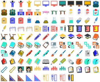 Classroom Clip Art for Teachers - Colorful School SVG Icons