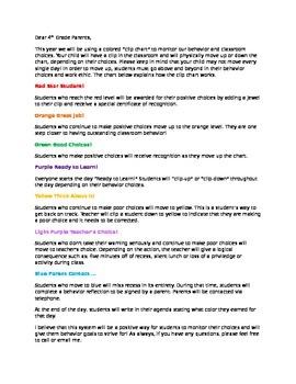 Classroom Clip Chart Parent Letter