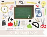 Classroom Clipart; Chalkboard, Scissors, Apple, Ruler, Era