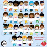 Classroom Clipart, Multicultural Kids Clipart with Banners