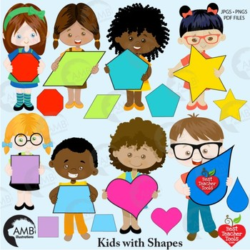 Classroom Clipart, Multicultural Kids Clipart with Geometric Shapes, AMB-2304