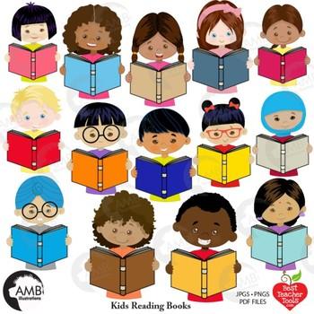 Classroom Clipart, Multicultural Kids Reading Clipart, AMB-2305