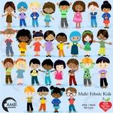 Classroom Clipart, Multicultural Kids Reading Clipart, AMB-2317
