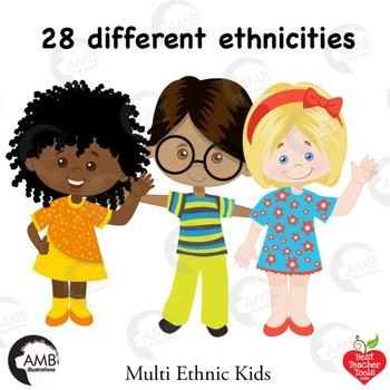 Classroom Clipart, Multicultural Kids Reading Clipart, AMB ...