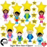 Classroom Clipart, Multicultural Superhero Kids Clipart with Stars, AMB-2311