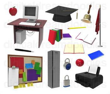 Classroom Clipart - Teacher and Student Supply Digital Graphics